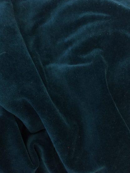 teal blue green cotton rich velour stretch velvet