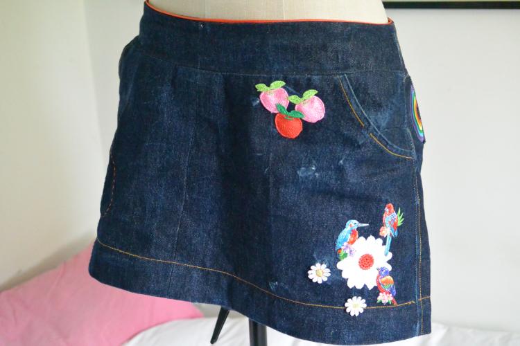 red selvedge denim mini skirt