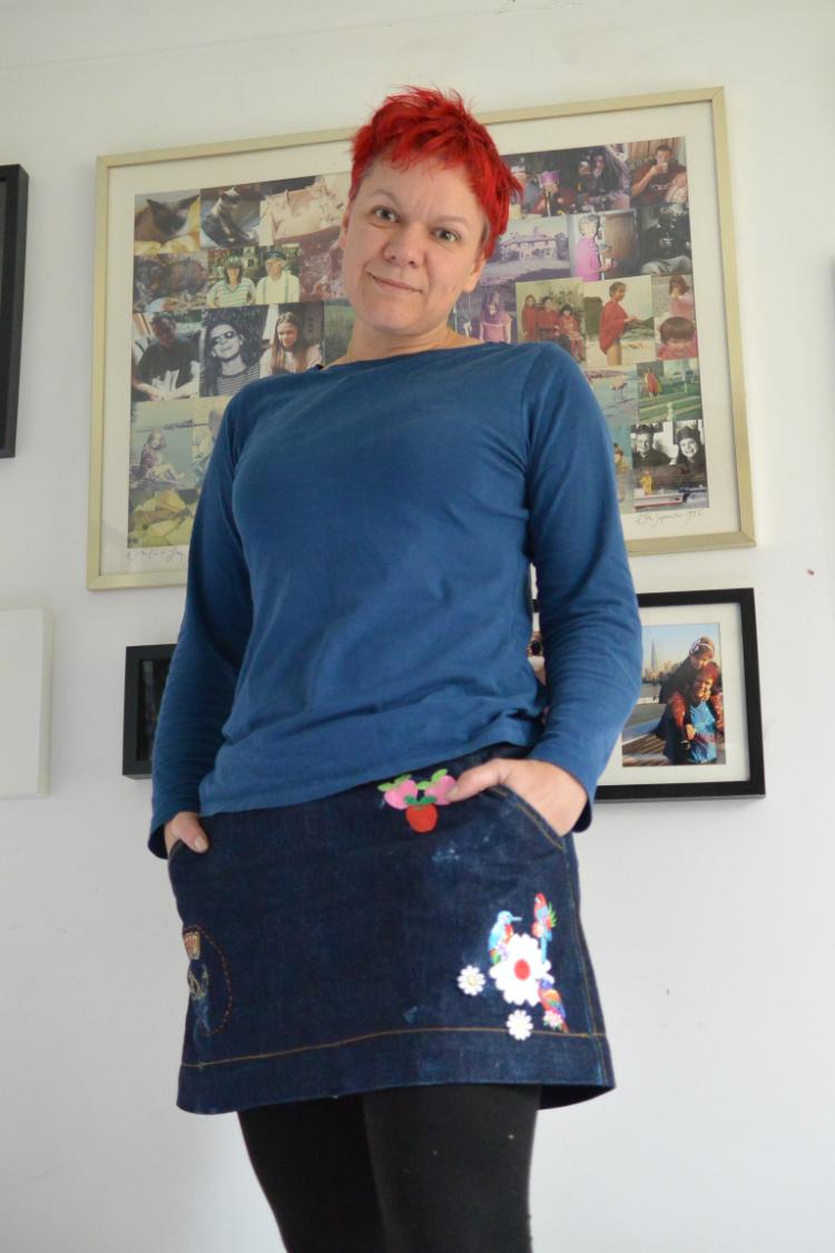 embroidered red selvedge denim mini skirt