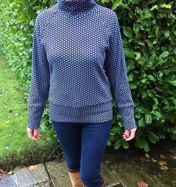 navy and white spotty double knit jumper