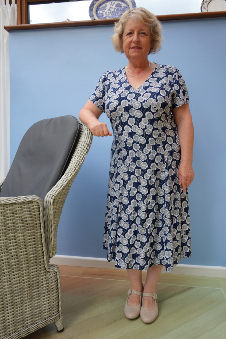 blue and white viscose lawn flared dress