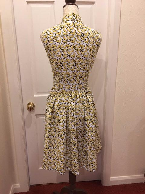 banana print cotton poplin shirt dress (back view)
