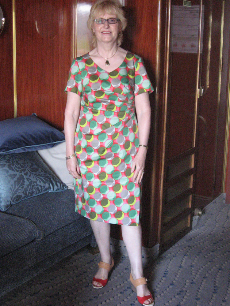 green and red spot print stretch cotton sateen wrap dress