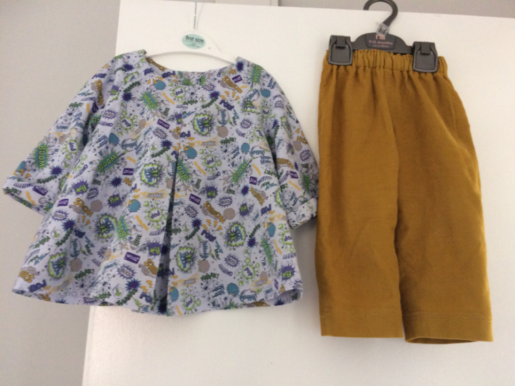 babycord mustard trousers and comic strip print quilting cotton shirt