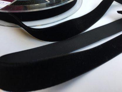 black high density polyester velvet trim 16mm wide