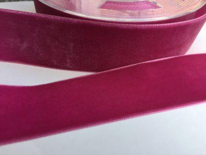 fuchsia pink high density polyester velvet trim 38mm wide