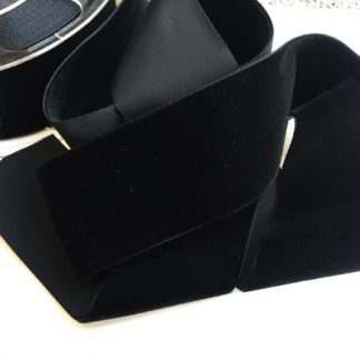 black high density polyester velvet trim 50mm wide