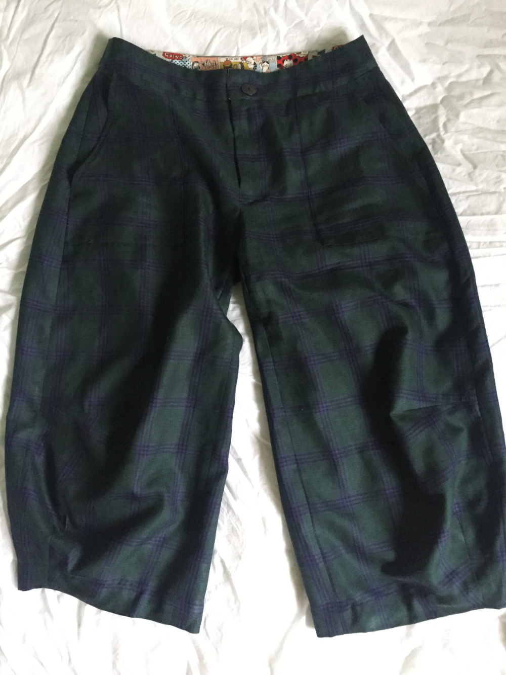 green and blue tartan linen wool and silk worsted suiting cropped trousers