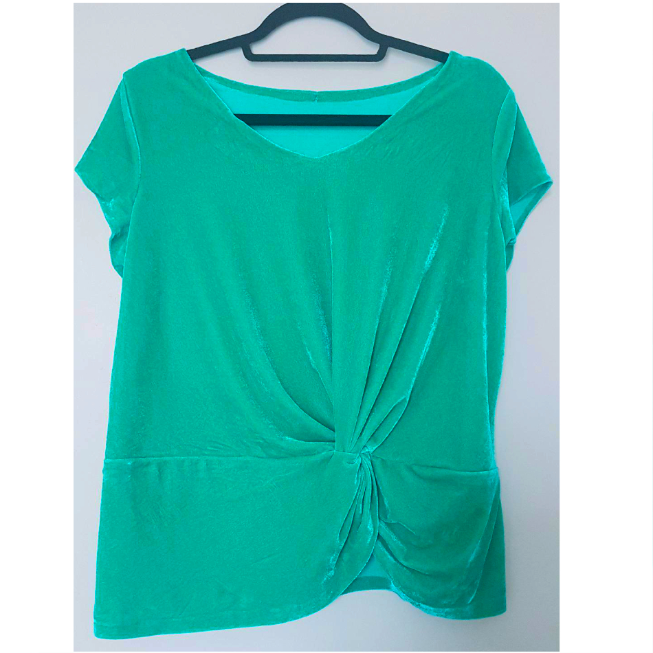 jade green stretch velour velvet twist front top made using McCall's pattern M7975