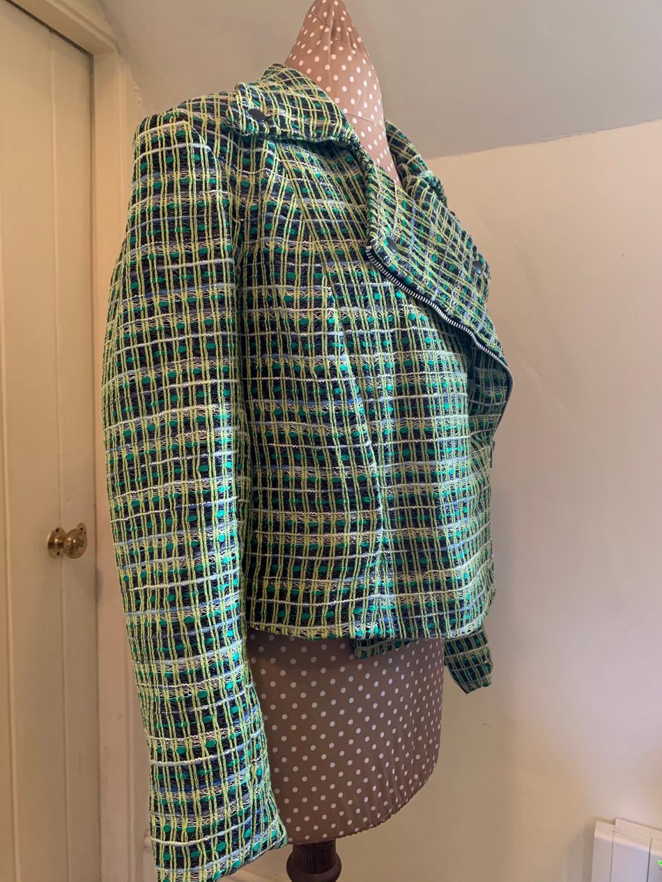 linton tweed biker jacket side view made by Jayne Davie