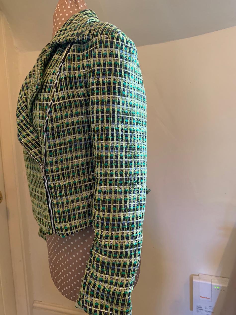 Linton Tweed biker jacket side view showing zip made by Jayne Davie