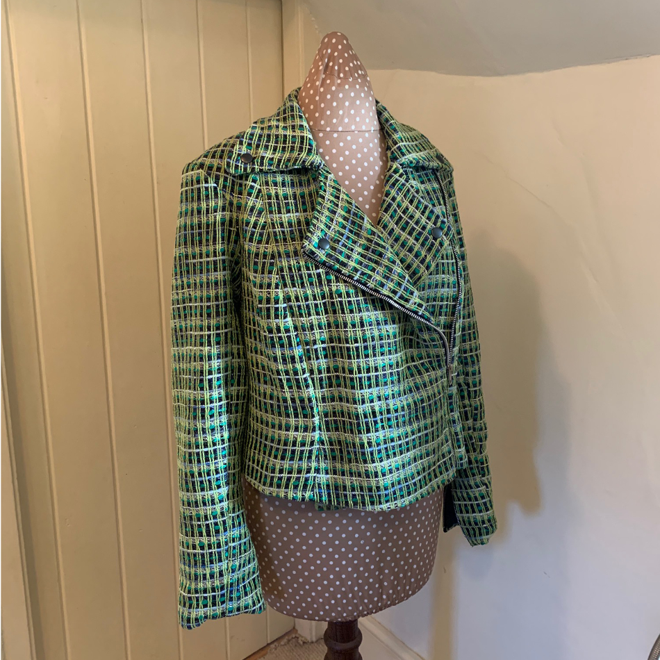 Linton tweed biker jacket made by Jayne Davie