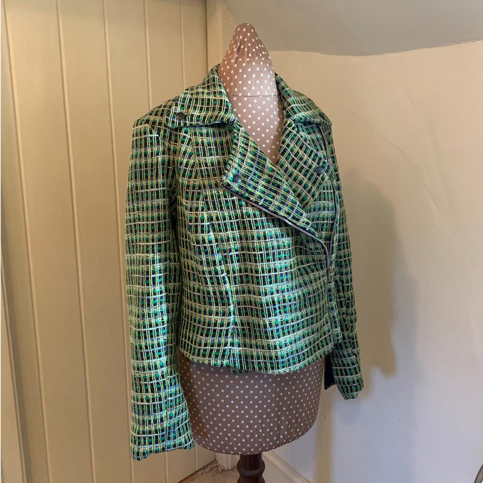 Linton tweed biker jacket made by Jayne Davie