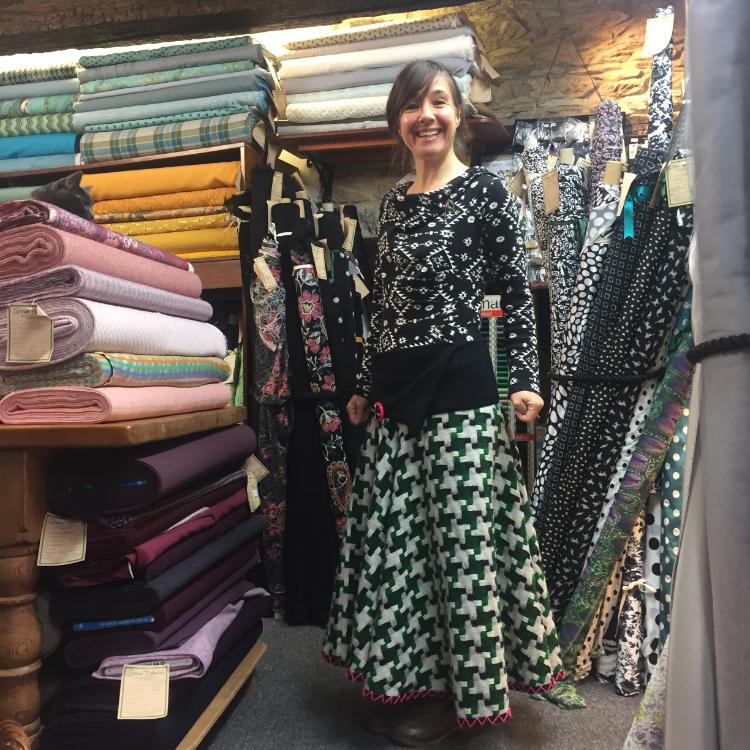 puzzle check wool tweed circular skirt