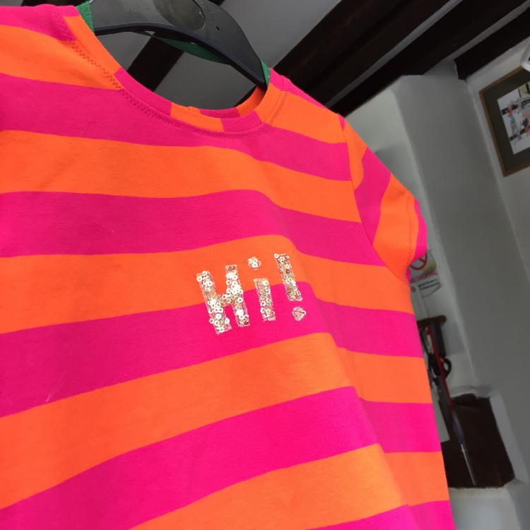 orange and pink broad stripe cotton and elastane jersey