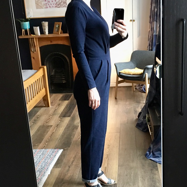 side view of sirocco jumpsuit by Dear and Doe made up in indigo dyed heavy cotton denim jersey.