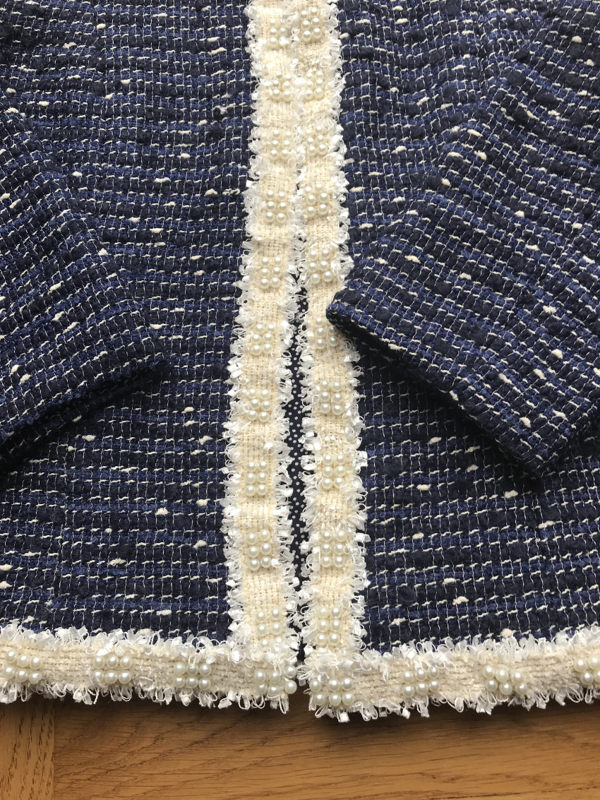 navy coco cardigan jacket with pearl and tweed trim
