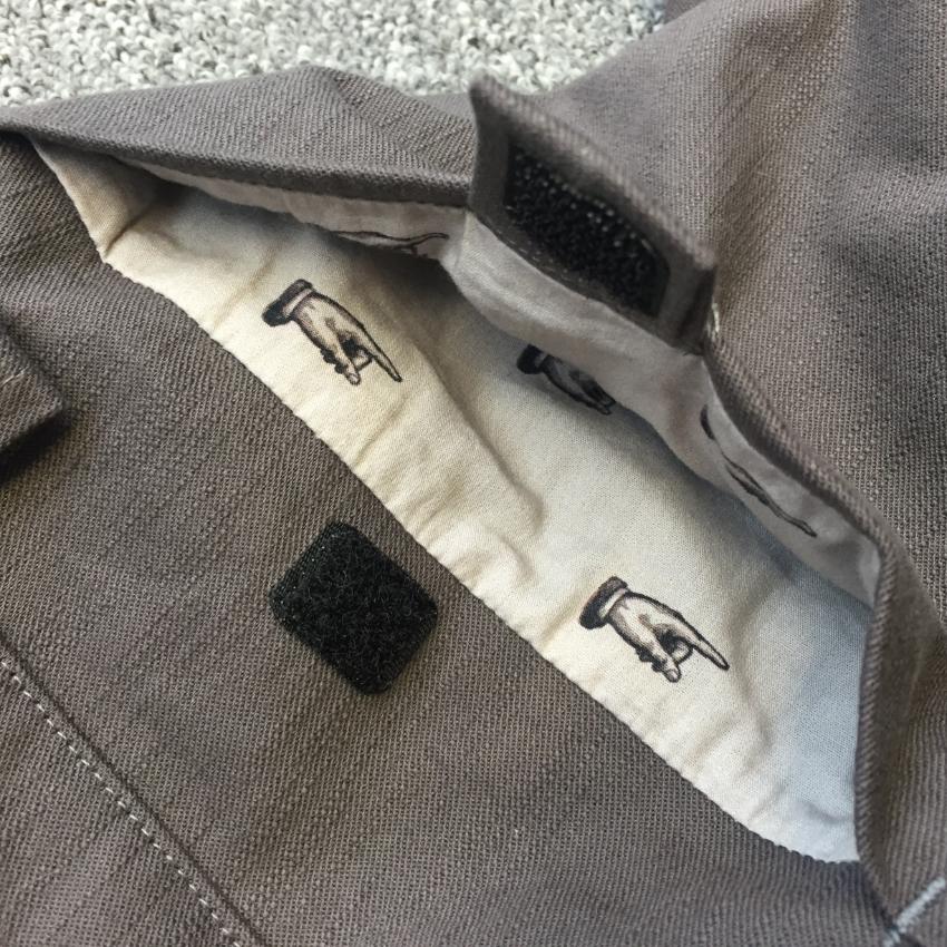 mushroom grey stretch denim shorts with pointy finger pocket linings