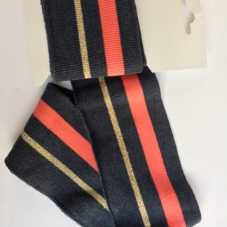 navy blue, neon coral and gold stripe cuffing