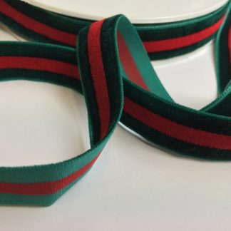 Bottle Green and Red stripe high density velvet ribbon