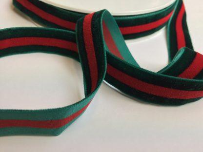 Bottle Green and Red stripe high density velvet ribbon