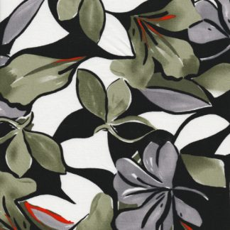 olive big floral print stretch cotton sateen