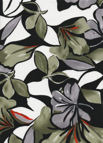 olive big floral print stretch cotton sateen