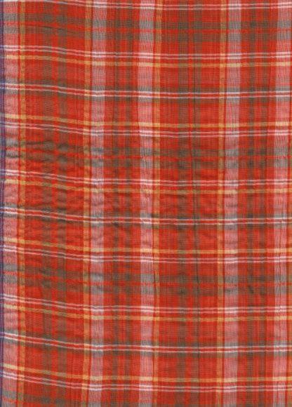 orange tartan lightweight seersucker cotton voile