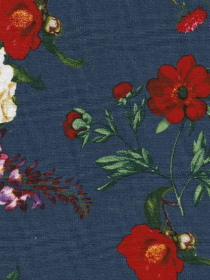 Navy blue and multicolour floral print linen and viscose mix
