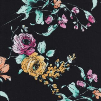 black and multicolour floral print stretch cotton sateen