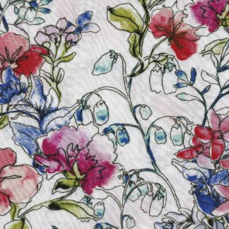 blue and Pink floral viscose lawn