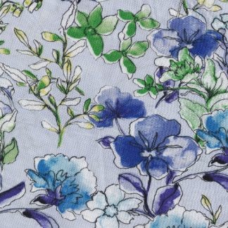blue floral viscose lawn