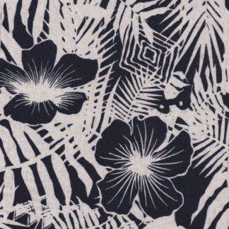Navy Blue floral jungle print linen mix lightweight jersey