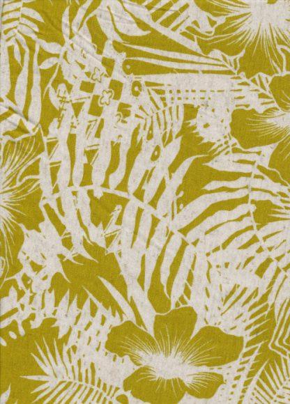 chartreuse green floral jungle print linen mix lightweight jersey