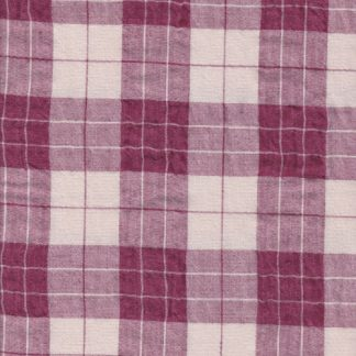 10620 magenta and ecru 4cm check linen and cotton seersucker