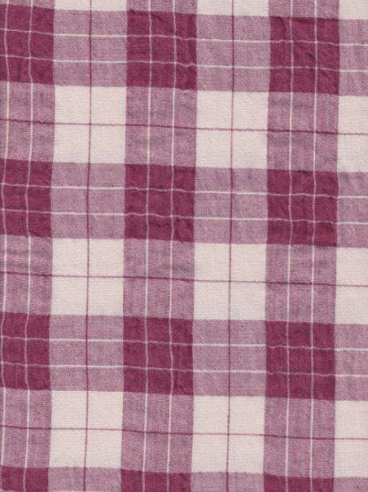 10620 magenta and ecru 4cm check linen and cotton seersucker