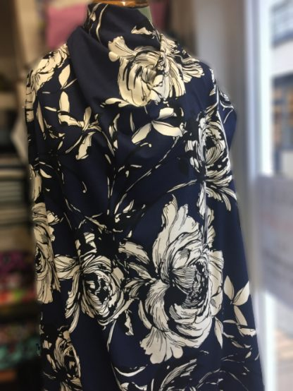 SF10637 big illustrated floral navy, black and off-white lightweight viscose and elastane jersey