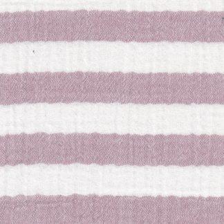dusky pink broad horizontal stripe super soft double gauze cotton