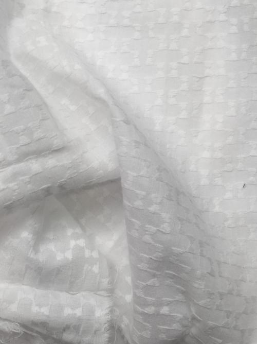 white jacquard geometric weave cotton voile shirting