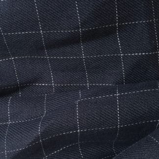 navy and white windowpane check twill linen