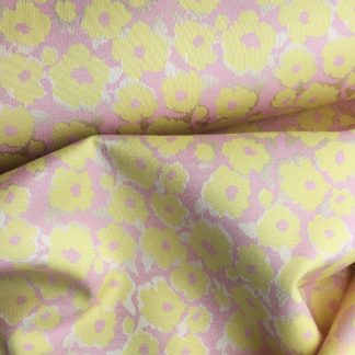 yellow and pink floral brocade