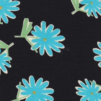 turquoise and black floral print viscose crepe