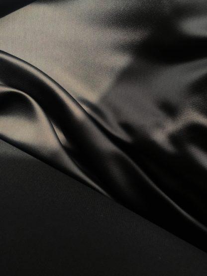 Black Acetate Feel heavy Polyester Satin back Crepe