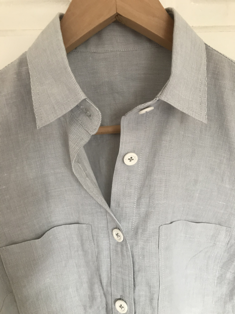 Liesl and Co micro stripe Linen and Cotton Shirt collar detail