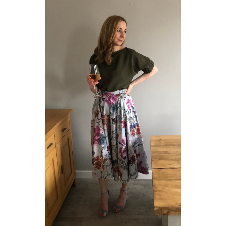 Floral Print Pleated Satin Skirt