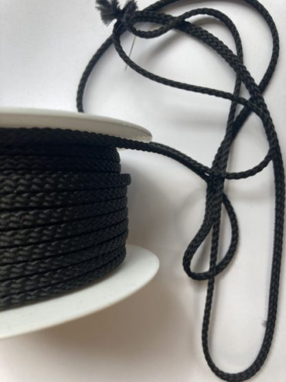 Black polyester braided cord