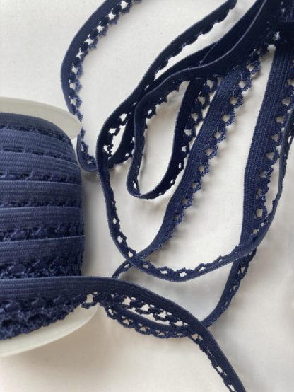 French Navy Blue picot edge lingerie elastic