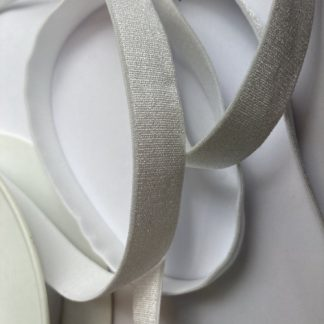 White satinised elasticated ribbon for bra straps and decorative straps