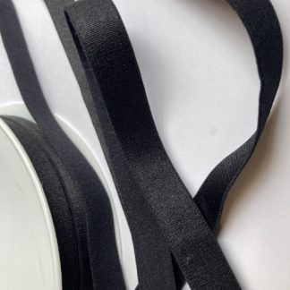 Black satinised elasticated ribbon for bra straps and decorative straps