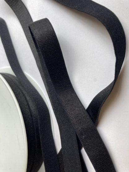 Black satinised elasticated ribbon for bra straps and decorative straps